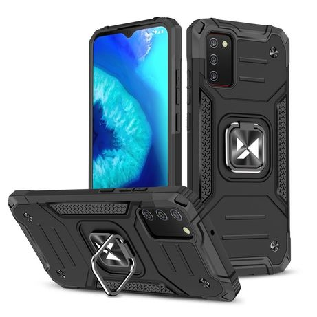 Capa Rígida/Semi Rígida Traseira Wozinsky Ring Case Kickstand Tough Rugged Cover Samsung Galaxy A02s Eu Preto