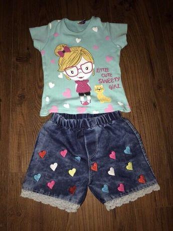 Яркий летний костюм на девочку 1,5-2 года. Шорты футболка