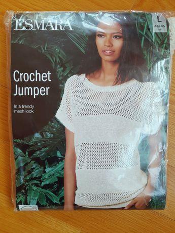 Nowy kremowy sweterek, sweter ecru, biały bezrękawnik, kamizelka