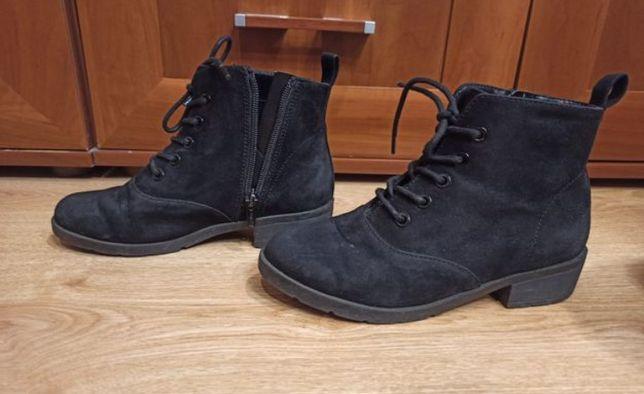 H&M botki buty jesienno-zimowe zamszowe