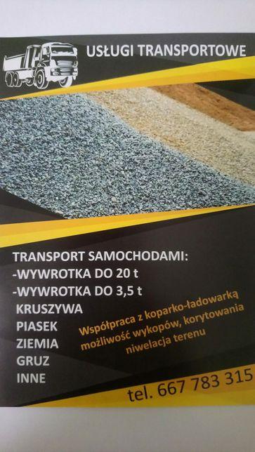 Transport kruszywo piasek ziemia gruz, usługi transportowe,