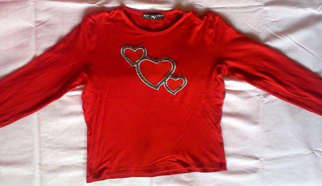 Ярко-красная кофточка, реглан, лонгслив, футболка для девочки