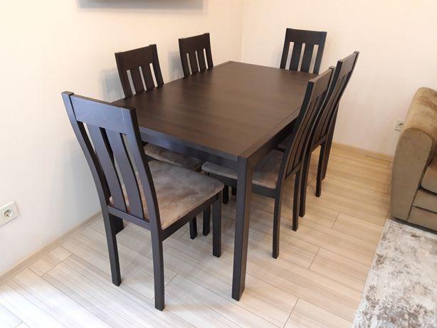 Стіл розкладний зі стільцями 6 шт - венге модерн