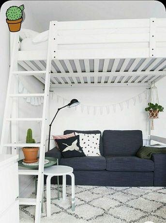 Łóżko antresola białe drewniane materac gratis