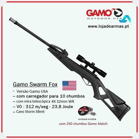 "Carabina Pressão de Ar Gamo modelo "" Swarm Fox 10x - 4,5mm - Combo"""