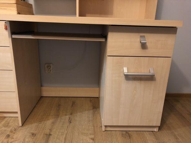 Biurko, szafka wisząca, fotel obrotowy