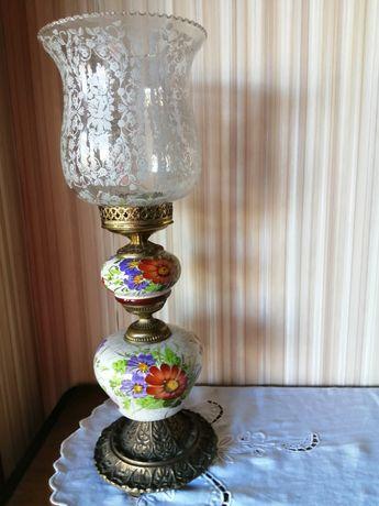 Lindíssimo candeeiro em loiça e vidro todo florido bastante antigo