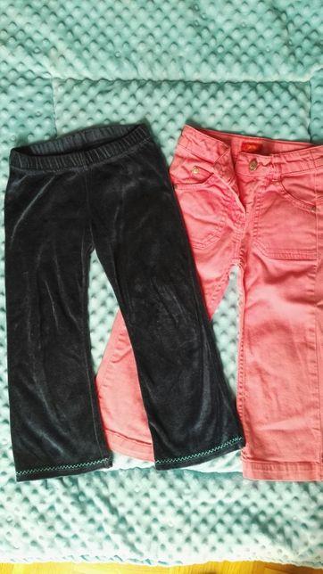Spodnie, spodenki granatowe i różowe 2 pary 98