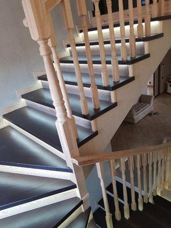 Ступени деревянные,лестница, балясины, поручни, подступни.