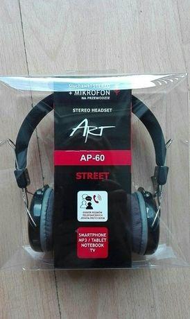 Nowe Słuchawki STEREO + mikrofon na przewodzie, mocny dynamiczny dźwię