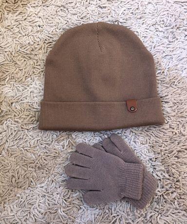 Набор шапка шапочка демисезонная перчатки рукавицы