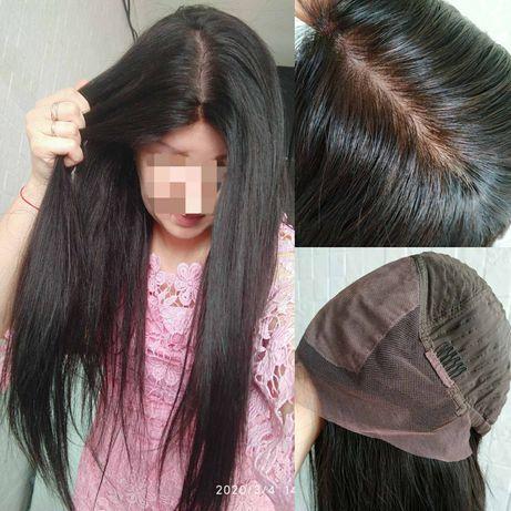 Натуральный парик реалистичная кожа на шёлке славянский волос люкс