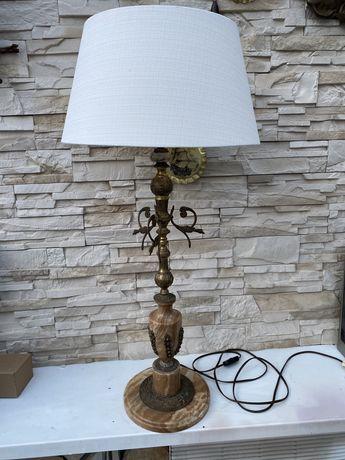 Stara wielka 86cm  lampa mosiądz kamień naturalny