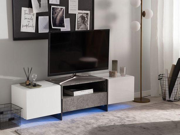 Móvel de TV branco com efeito de betão e iluminação LED RUSSEL - Beliani