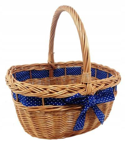 Koszyk miejski wiklinowy na zakupy, piknik, ze wstążką granatową