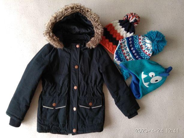 Kurtka zimowa, parka chłopięca, jak Nowa roz. 116 + 3 czapki