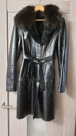Кожаное пальто -куртка, трансформер