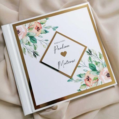 Piękna księga gości na wesele - brzoskwiniowa