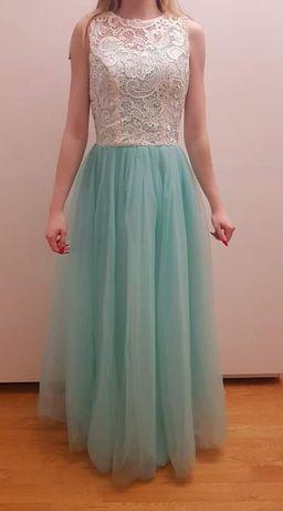 Długa miętowa sukienka