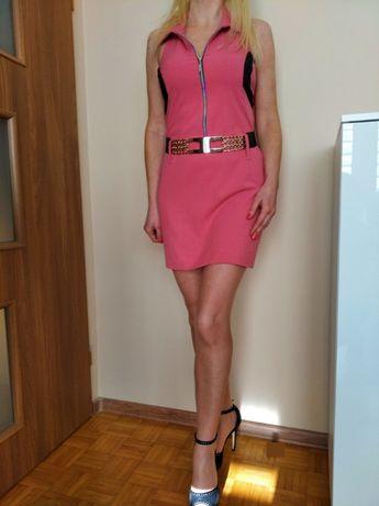 CUDOWNA sukienka różowa z czarnym zamek mini S M L GRATIS WYSYŁKA!