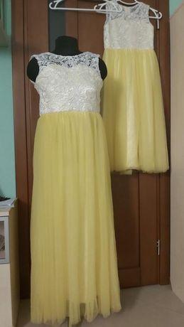 Платья на девочек торжество лимонные с кружевом