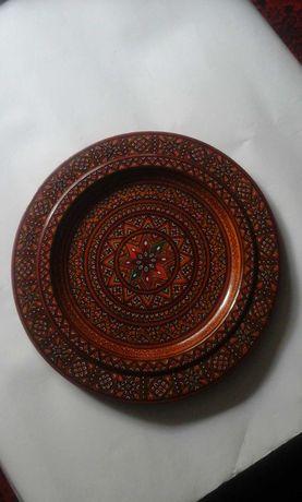 Тарелка декоративная дерево+лак