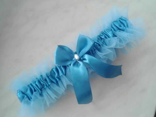 Podwiązka ślubna niebieska tiulowa