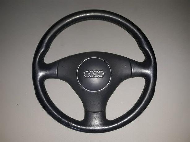 Kierownica trójramienna skórzana audi a6 c5 kompletna airbag