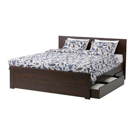 Łóżko małżeńskie podwójne z pojemnikiem IKEA BRUSALI