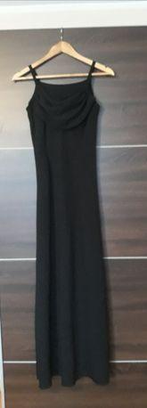 Czarna dluga suknia maxi balowa piękna zwiewna roz s/m