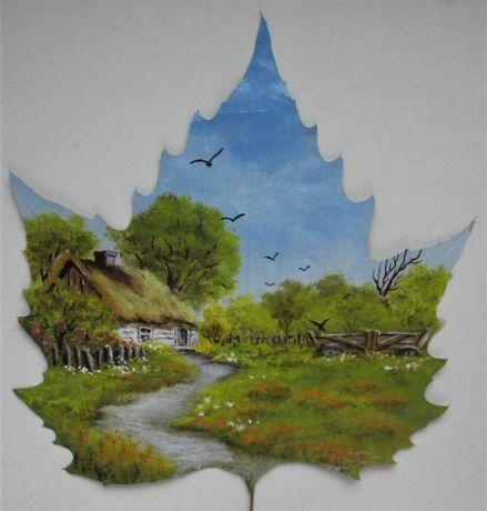 Obrazek na prawdziwym ususzonym liściu lato chata woz