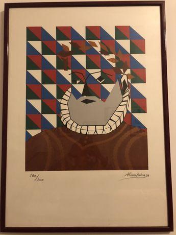 """Serigrafia original emoldurada de """"Luís de Camões"""" de 1998."""