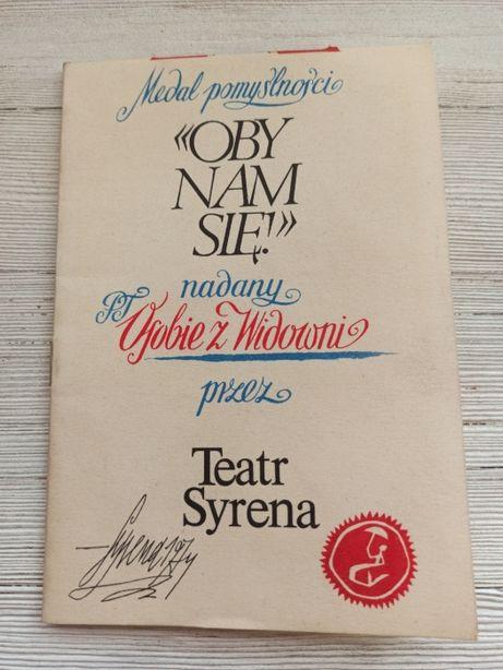 Teatr Syrena Warszawa Medal Pomyślności kolekcjonerski 1974