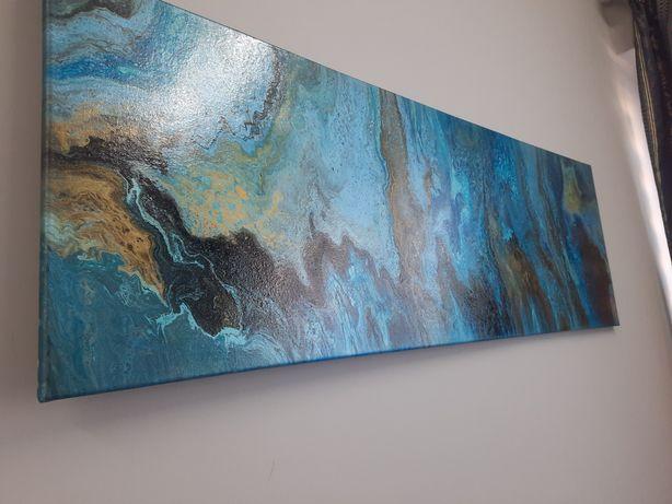 """""""Głębia oceanu"""" obraz 40 x 120. Ręcznie wykonany"""