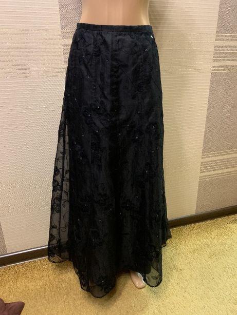 Шикарная нарядная шелковая юбка. 12 рр. Monsoon. вышивка пайетки