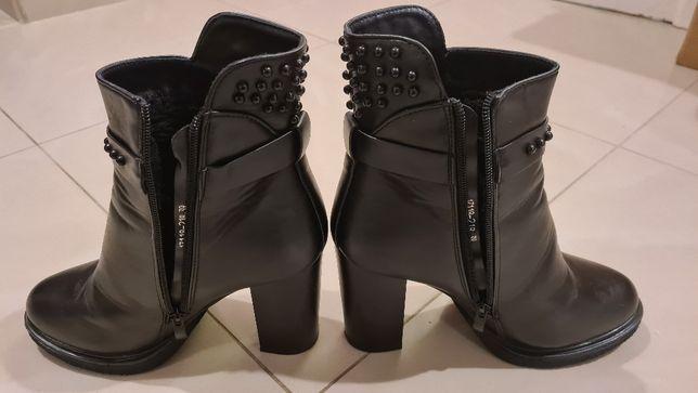 Ботинки на каблуках 10см. Кожа.