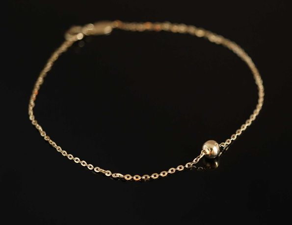 Złoto 585-złota bransoletka z kuleczką