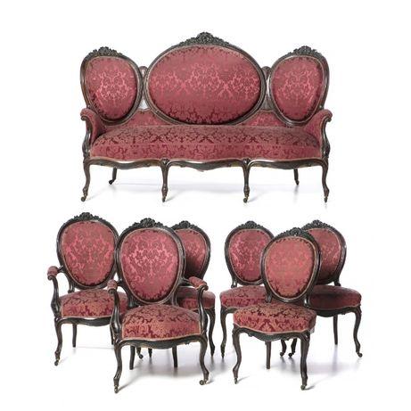 Conjunto Canapé 2 Cadeirões 4 Cadeiras