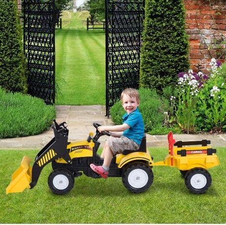 NOWY samochód traktor na pedały z przyczepką i ładowarką