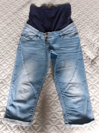 Ciążowe spodnie jeansowe 3/4 Bonprix roz 34