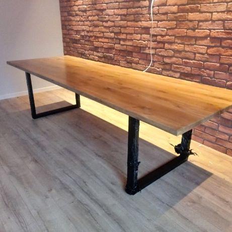 Stół dębowy 3m industrial metalowe nogi