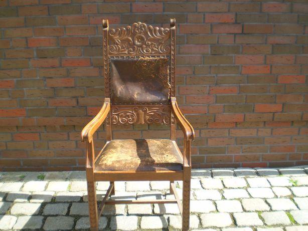 antyk fotel debowy