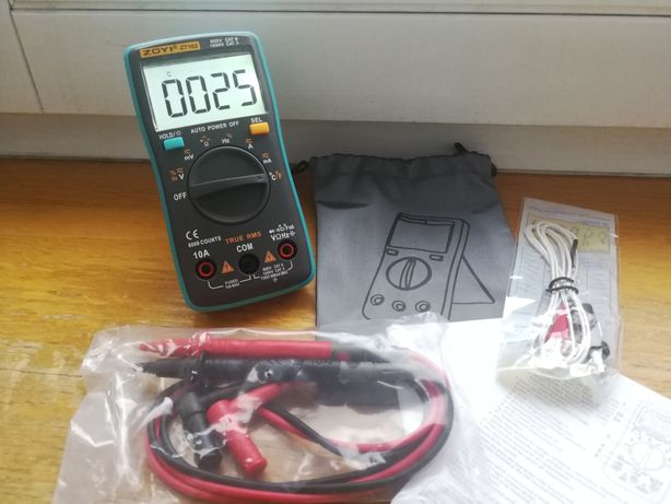 Multimetr cyfrowy ZT102 automatyczny dobór zakresu} Pomiar pojemności