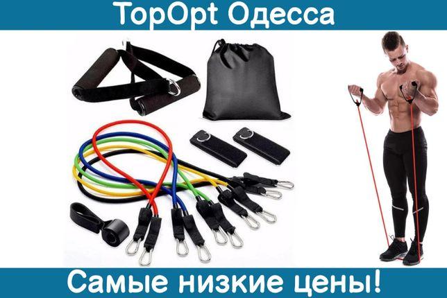 Набор трубчатых эспандеров для фитнеса 5 шт резинки жгуты для спорта