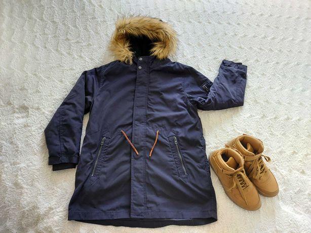 Zara kurtka zimowa parka 2 w1 , 140 cm 10 lat chłopiec granatowa
