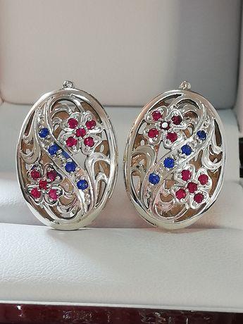 NOWE srebrne kolczyki szafirowe rubinowe WIKTORIAŃSKI STYL elegancja