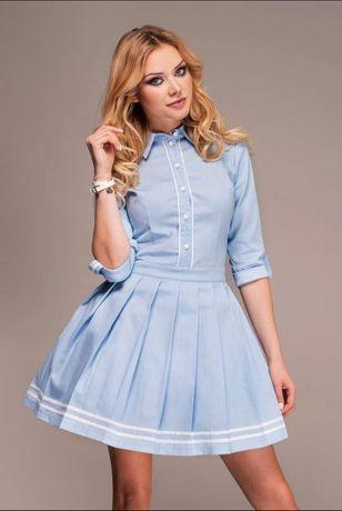 Lou Azure unikat! Sukienka koszulowa S 36 oryginalna Blue