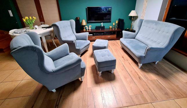 Komplet Uszak 2 fotele , 2 pufy , sofa