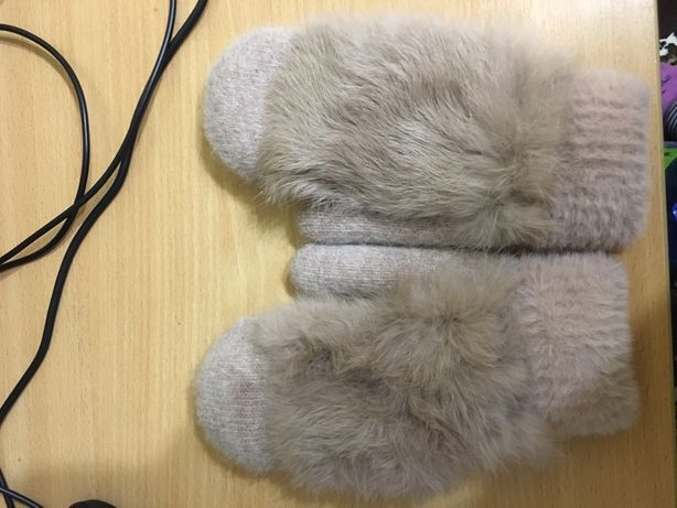 Варежки теплые с мехом