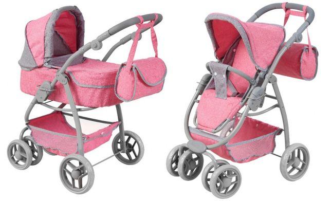 Różowy Wózek dla lalek 2w1 Gondola Spacerówka Torba Miękkie Koła Nowy